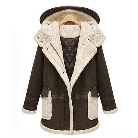 Thickened Maternity Artificial Lamb Wool PU Leather Hooded Coat
