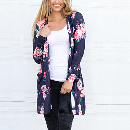 Flower Print Open-Front Cardigan With Pocket