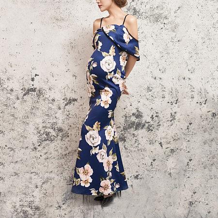Maternity Floral Prints Cold Shoulder Full Length Dress