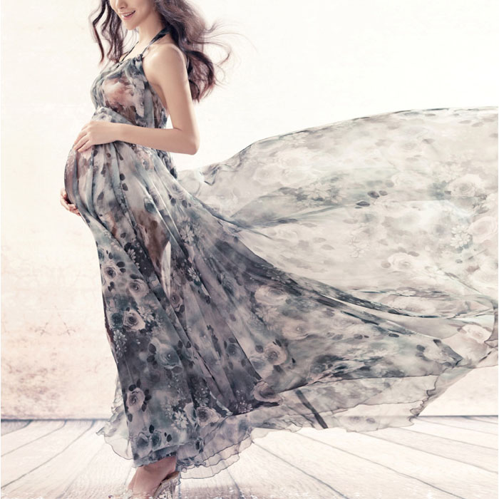 Maternity Graceful Floral Prints Halter Collar Full Length Dress