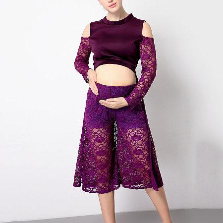 Maternity Elegant Cold Shoulder Lace Long Sleeve Two Pieces Set