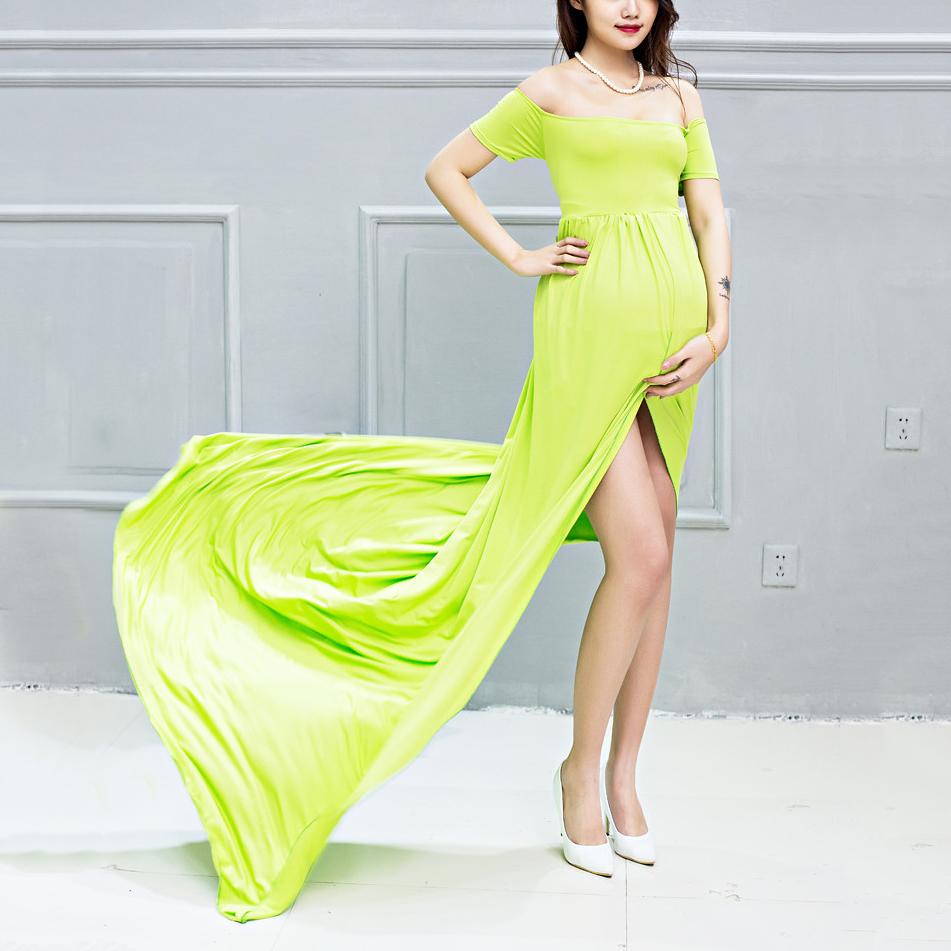 Maternity Graceful Off Shoulder Maxi Dress