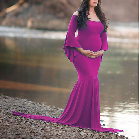 Maternity Off Shoulder Flounced Sleeve Trailing Dress