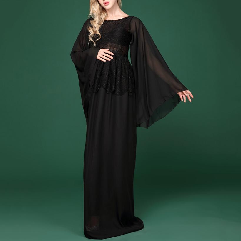Maternity Chiffon Long Sleeve Maxi Dress