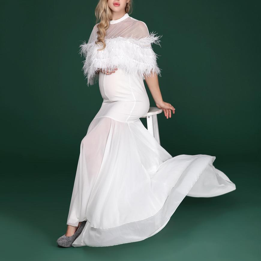 Maternity Mesh Patchwork Full Length Dress
