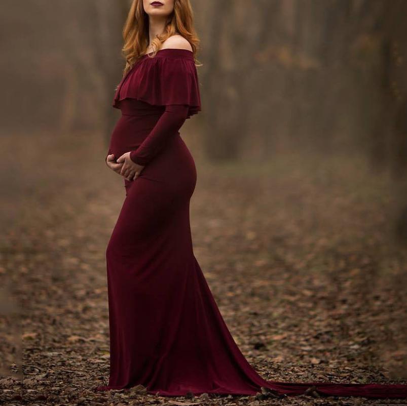 Maternity Flounced Trailing Dress