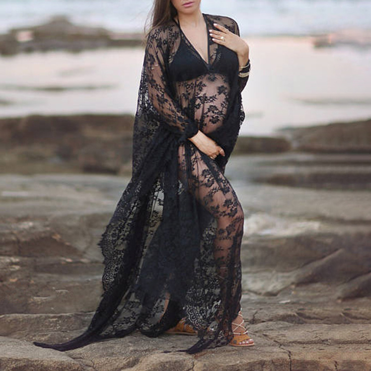 Maternity Lace See-Through Dress