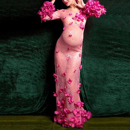 Maternity Sweet Flower Decorated Side Slit Cut Dress