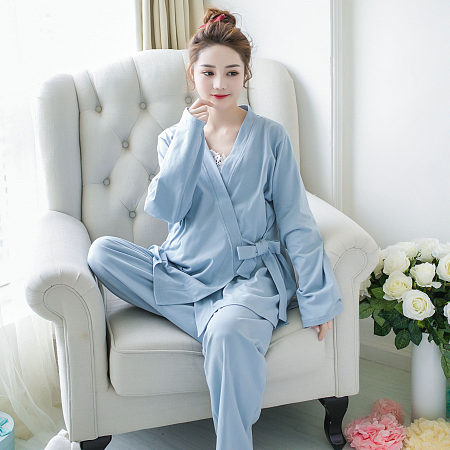 Maternity Solid Color Self Tie Three Pieces Set