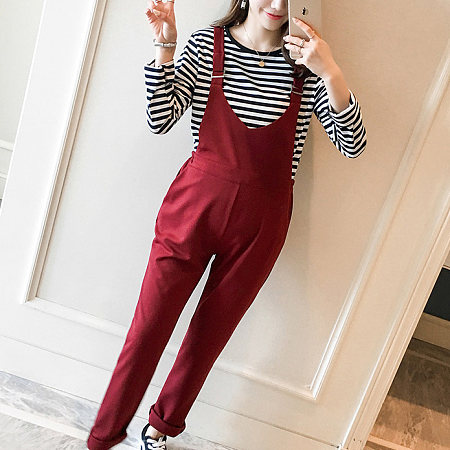 Maternity Stripes Top And Suspender Pants Two Pieces Set