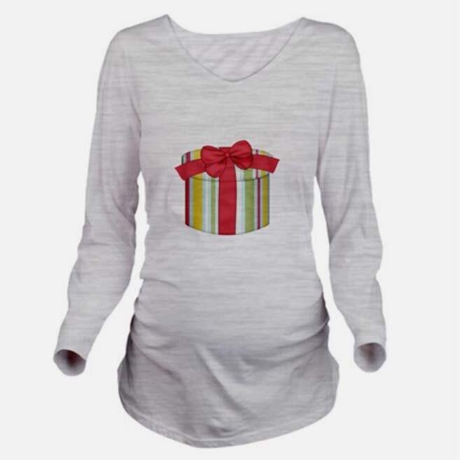 Gift Print Maternity Long Sleeve Shirt