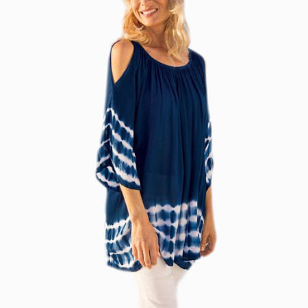 Casual Style Cold Shoulder Round Neck Tee
