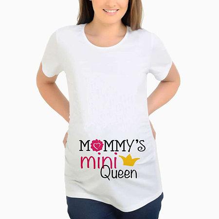 Maternity Slogon Print Round Neck Top
