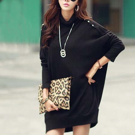 Mock Neck Batwing Sleeve Knitted Pullover