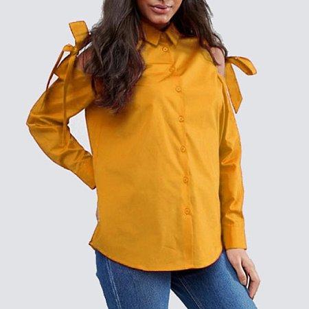 Lace Up Cold Shoulder Shirt