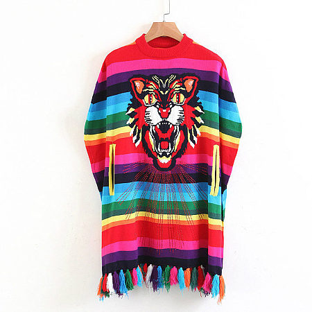 Tiger Pattern Colorful Tassles Sweater