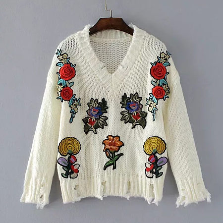 V-Neck Flowers Appliques Sweater