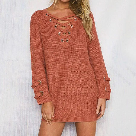 Lace-Up Neck Long Sweater