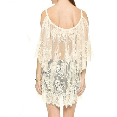Maternity Lace Sun-Protective Cold Shoulder Shirt