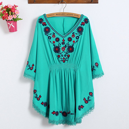 Embroidered Flowers Batwing Shirt