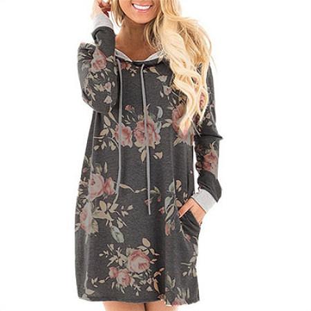 Long Sleeve Hoodie In Floral Print