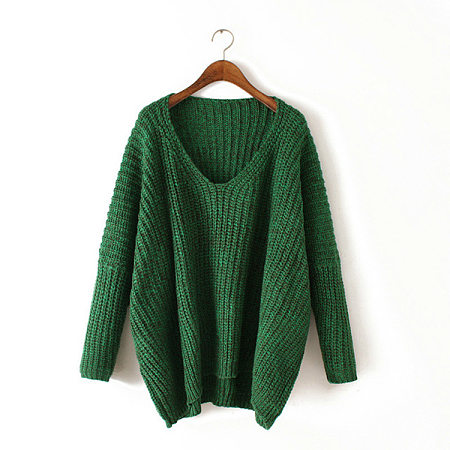 V-Neck Batwing Knitted Sweater