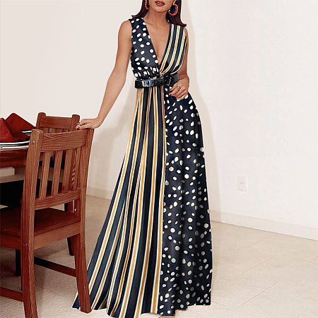 Vacation Sexy V-Neck Striped Polka-Dot High-Waist Maix Dress