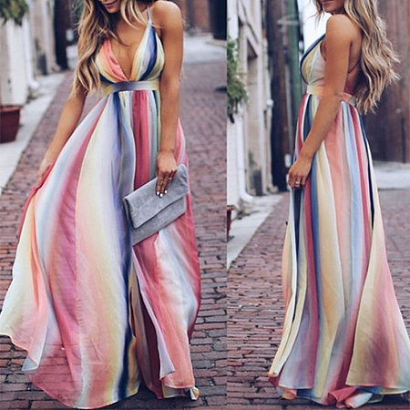 POPREAL / Color Deep V High Waist Maxi Dress