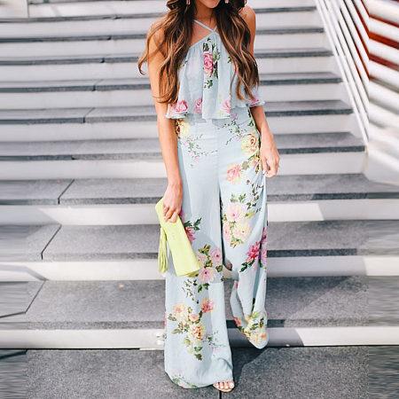 Bohemia Style Floral Printed Jumpsuit
