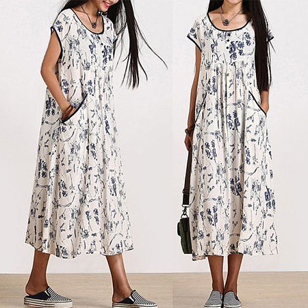 Round Neck Floral Printed Pocket Piping Mid Calf Dress