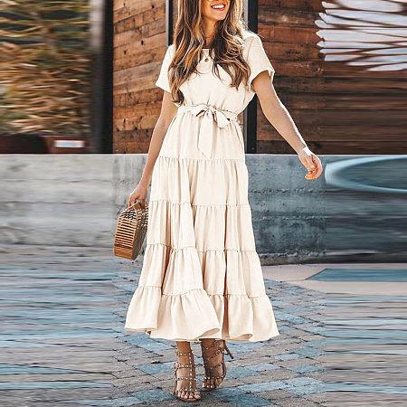 Round Neck Elegant Lace Up Patchwork Maxi Dress